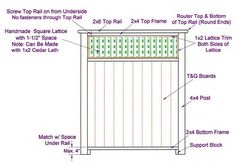 plans for privacy screen - Google Search Lattice Top, Square Lattice, Tongue And Groove Panelling, Small Patio Design, Privacy Panels, Diy Deck, Deck Plans, Building A Deck, Trellis