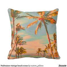 PixDezines vintage beach scene Pillows