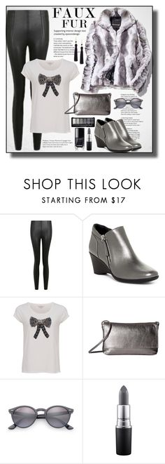 """""""December Song"""" by bamaannie ❤ liked on Polyvore featuring Topshop, Steven by Steve Madden, French Connection, S.A.S., Ray-Ban, MAC Cosmetics and Kenneth Jay Lane"""