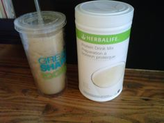 I love this drink, I mix my protein drink mix, with cold coffee ( I use decaf instant or left over coffee) ice dash vanilla of 1/4 cup skim milk blend and YUMMY