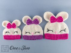 Ravelry: Olivia the Bunny Hat pattern by Carolina Guzman. It's cute but I would change the eyes and nose.