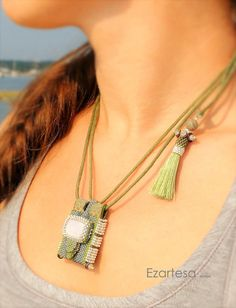 Olive seed bead woven necklace by Ezartesa.