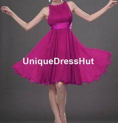 Elegant purple Bridesmaid Dresses A-line empire waist high neck Knee-length short Chiffon homecoming dresses Modest Short Evening party Gown on Etsy, $83.00
