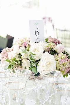 Pink and White peonies and Hydrangea table arrangement Reception Decorations, Flower Decorations, Wedding Centerpieces, Wedding Bouquets, Hydrangea Centerpieces, Blush Weddings, Flower Bouquets, Reception Ideas, Peonies And Hydrangeas