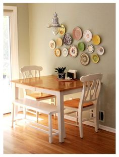 Eat In Kitchen Table, Small Kitchen Tables, Small Apartment Kitchen, Dining Table With Bench, Small Dining, Dining Table Chairs, Home Decor Kitchen, Kitchen Dining, Dining Area