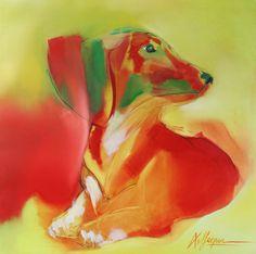 Coco (teckel)  Olieverfschilderij op doek 70 x 70 cm