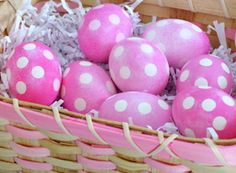 cute - sticky dots on eggs, dye, then remove to reveal the original egg color