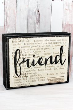 Creatively designed using a magnified section of an old dictionary page, this box sign is an attractive addition to your home or office decor. Or give it as a gift to someone special! - Wood Panel Con