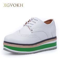 f39d3cceba82 XGVOKH Brand Fashion Women Shoes Lace up Female Flat Platform Shoes Height  Increasing casual Flats-in Women s Flats from Shoes on Aliexpress.com