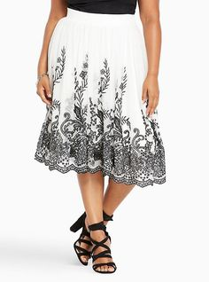 Plus Size Mesh Embroidered Midi Skirt, CLOUD DANCER