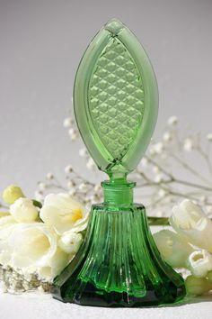 Green Perfume Bottle True Art Deco Czechoslovakia
