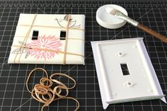 See how you can make your own designer switch plates! Transform boring switch plates and outlet covers into designer ones in this simple diy tutorial!