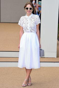 Harley Viera-Newton at LFW Burberry Prorsum Spring 2015: white lace top, midi skirt