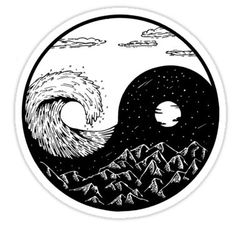 'Wave and mountains Ying-Yang' Sticker by termitart Wave and mountains Ying-Yang Sticker<br> Sticker Yen Yang, Ying Y Yang, Arte Yin Yang, Yin Yang Art, Yin And Yang, Ying Yang Tatuaje, Tatuajes Yin Yang, Tattoo Drawings, Body Art Tattoos