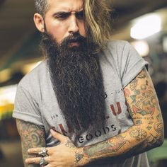 Trig Perez looking unreal - long full dark beard and mustache beards coloration bearding bearded man men mens' style natural length tattoos tattooed so fucking handsome #beardsforever