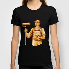 House Painter Holding Paint Roller Etching T-shirt. American Apparel Fine Jersey T-shirts are made with 100% fine jersey cotton combed for softness and comfort. #illustration #HousePainter