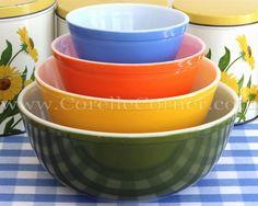 Pyrex New Multi-Color four piece bowl set: blue, orange, yellow, green