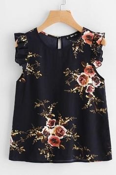 Shop Frilled Armhole Button Closure Back Shell Top online. SheIn offers Frilled Armhole Button Closure Back Shell Top & more to fit your fashionable needs. Mom Outfits, Outfits For Teens, Cute Outfits, Look Fashion, Girl Fashion, Fashion Dresses, Spring Fashion, Floral Tops, Latest Fashion For Women