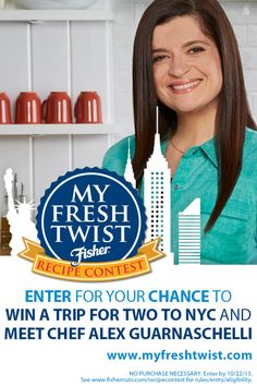 Win a Trip for 2 to NYC + meet Chef Alex Guarnaschelli in Fisher My Fresh Twist Recipe Contest! #ad