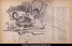 Giovanni Boldini (Italian, 1842-1931) Rodin Drawing, Les Cents, Museum Plan, Giovanni Boldini, Silver Teapot, Still Life Fruit, Chalk Drawings, Galleries In London, Pencil Portrait