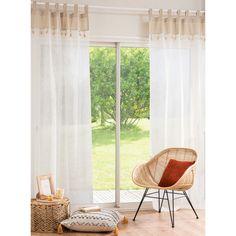 Cortina con presillas de algodón beige y blanco 105x250 | Maisons du Monde