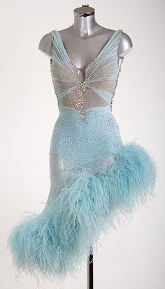 Teal latin dress with slanted, feathered skirt and extensive stoning - DSI London Latin Ballroom Dresses, Ballroom Costumes, Ballroom Dance Dresses, Latin Dresses, Ballroom Dancing, Dance Costumes, Love Dance, Dance Wear, Salsa Dress