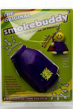 The Smokebuddy is a handy, and reliable, life saving air filter. Simply exhale your smoke through your easy-to-use Smokebuddy and odorless air comes out the other end. Smoke where you want, and when…More Personal Air Purifier, Smoking Accessories, Car Travel, Air Filter, Pipes, Incense, Filters, Lunch Box, How To Remove
