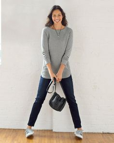 Rib-trimmed sweatshirt tunic, two hearts necklace, and the mini bucket bag