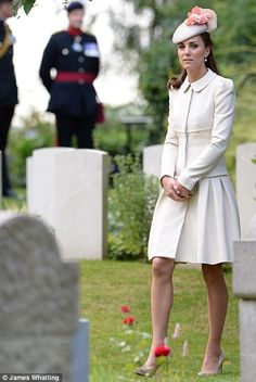 The Duchess of Cambridge attends a commemoration event at Saint Symphorien Cemetery 4 Aug 2014