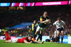 South Africa are through to the Semi Finals after edging Wales 23-19 at Twickenham. Captain Fourie du Preez scored the winning try after a perfect flick pass by Duane Vermeulen.