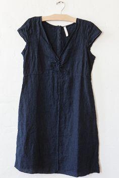 nut hatch cap sleeve indigo linen dress – Lost & Found