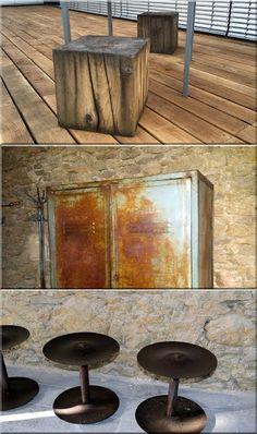 loft stílus wabi sabi rönk ülőke, lemezszekrény, vas dísztárgy Industrial Loft, Industrial Design, Loft Design, Loft Style, Wabi Sabi, Rustic Furniture, Vintage Designs, Home, Home Decoration