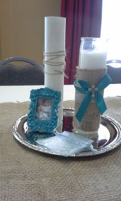 Baptism centerpieces, flowers in the bases, everything was bought at Dollar Tree and Micheal's, except for the spray paint that I used for the flower bases Boy Baptism Centerpieces, Baptism Party Decorations, Baby Shower Balloon Decorations, Party Centerpieces, Baby Baptism, Christening, Baptism Ideas, First Communion Party, Baby Dedication