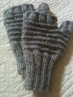 Hand Knit Fingerless Gloves in Grey Marble by GranasCorner on Etsy, $15.00