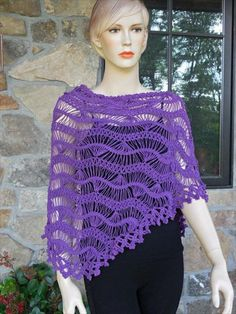 Chic Deep Purple Hairpin Lace Crochet Shawl- 25 DIY Crochet Shawl Patterns | DIY to Make