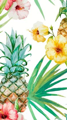 flowers, fondos, iphone, pineapple, tropical, tumblr, wallpaper, wallpapers