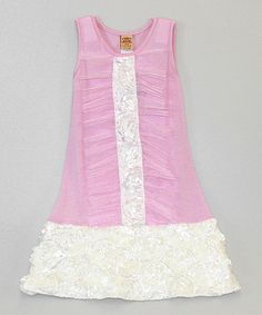 This Pink & Crème Tuxedo Ruffle Drop-Waist Dress - Toddler & Girls by Mia Belle Baby is perfect! #zulilyfinds