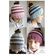 Striped Bun Hat Knitting Pattern Beginner by TinkerCreekHandknits