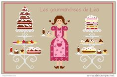 0 point de croix fille et patisseries gateaux - cross stitch girl, lady with pastries cakes