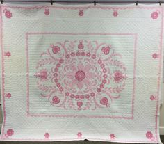 Vintage 1930's Era Hand Embroidered Pink White Quilt Size