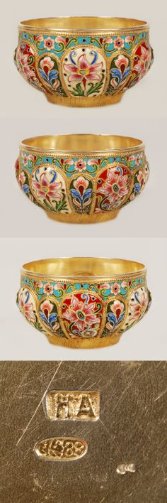 A ERussian silver gilt and shaded cloisonne enamel bowl, Nikolai Alexeyev, Moscow, Circa 1896-1908. The lobed circular body colorfully enameled with stylized floral and foliate motifs against alternating red, cream and olive green grounds and separated by ropework borders. A scrolling floral design against a turquoise ground and a band of chased beading completes the upper rim.