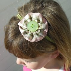 Pink and Green plaid ribbon rosette headband by Flossieblossom77, $4.00