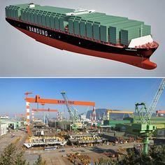 سامسونگ در حال ساخت بزرگترین کشتی جهان ... این غول بزرگ سامسونگ، سیصد و نود و شش متر طول و شصت متر عرض دارد. اندازه این کشتی به حدی بزرگ است که قادر به عبور از کانال پاناما نیست و میتواند بیست هزار کانتینر را بر روی خود حمل کند