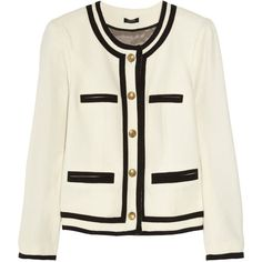 J.Crew Fanfare wool-blend jacket (525 BAM) ❤ liked on Polyvore featuring outerwear, jackets, blazers, tops, coats, women, wool blend blazer, blazer jacket, wool blended jacket and white blazer jacket