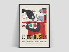 Le Corbusier Art Exhibition poster - Musée National d'Art Moderne print 1954 art Exhibition Poster of the highest quality. Art print on eco-friendly FSC paper. Art Vintage, Vintage Artwork, Vintage Prints, Vintage Posters, Le Corbusier, Art Français, Art Mural, Nature Prints, Art Prints