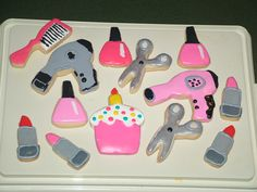 Stylist Salon blow dryer nail lipstick polish shears decorated cookies