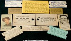 (12) Various Old Arcade Fortune Teller Machine Fortune Cards and Slips