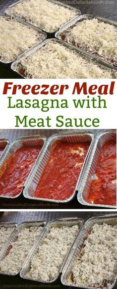 Freezer Meal Lasagna, Freezer meal Ideas, Family Style Freezer Meals, Quick Freezer Meals, Freezer Meal