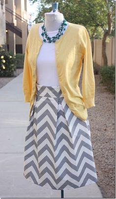 Chevron skirt. Dying over how cute the colors are together!