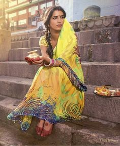 The Water Of Ganga are the Designer Digital Printed Sarees. These are pure georgette sarees. This collection is from Enchanting Divine Sarees. Bollywood Stars, Pure Georgette Sarees, Amazing India, Indian People, Saris, Printed Sarees, India Beauty, Indian Girls, Indian Fashion